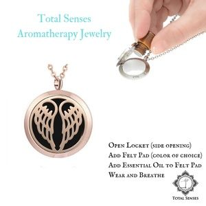 Rose Gold Angel Wings Essential Oil Necklace